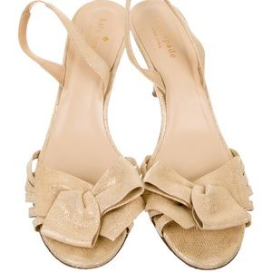 Kate Spade Suede Bow Slingback Gold Heels Size 8